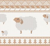 knitted pattern with sheep seamless vector illustration