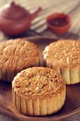 Retro vintage style Chinese mid autumn festival foods. The Chinese words on the mooncakes means asso