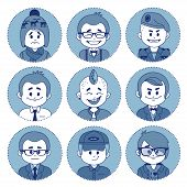 Set icons with characters. Different professions .