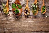 stock photo of basil leaves  - herbs and spice on wooden table - JPG