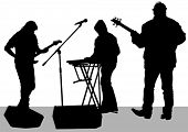 Pianist and guitarist of rock band on a white background
