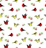 Vector Seamless Pattern With Bullfinches, Tites And Rowanberries.