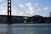 Container Ship Under Golden Gate Bridge Inbound