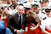 NEW YORK-MAY 23: Today Show host Matt Lauer poses with fans at the Toyota Concert Series on the Today Show at Rockefeller Plaza on May 23, 2014 in New York City.