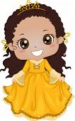 Illustration of a Cute Africanb-American Girl Wearing a Princess Costume