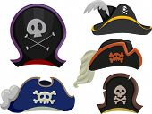 Illustration Featuring Different Types of Pirate Hats
