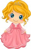 stock photo of dainty  - Illustration of a Cute Little Girl Wearing a Princess Costume - JPG