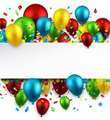 Celebration colorful background with balloons and confetti. Vector illustration.