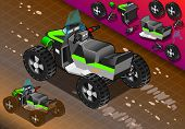 Isometric Quad Bike In Rear View