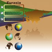 Eurasia map with shadow on brown background with world globes vector