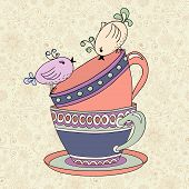 foto of recipe card  - Tea party invitation card template vector illustration with cups and birds - JPG