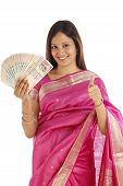 Happy Young Traditional Woman With Indian Currency