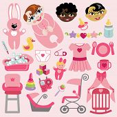 Cute Items For Baby Girl.baby Shower Icons