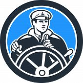 Fisherman Sea Captain Circle Retro
