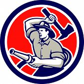 Fireman Firefighter Holding Hose Axe Circle Retro