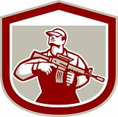 Soldier Military Serviceman Holding Assault Rifle Crest Retro