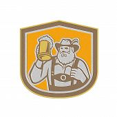 image of lederhosen  - Metallic styled illustration of a Bavarian beer drinker raising beer mug drinking looking up wearing lederhosen and German hat set inside shield crest shape done in retro style - JPG