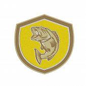 Metallic Largemouth Bass Jumping Shield Retro