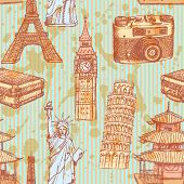 Sketch Eiffel Tower, Pisa Tower, Big Ben, Suitecase, Photocamera, Chinese Temple And Statue Of Liber