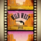 Vector image of the vintage western film strip with big canyon - vertical seamless pattern background