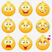 pic of emoticon  - Set of super funny and cute yellow expressive emoticons on white background - JPG