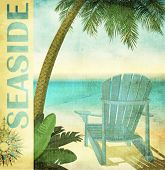 Vintage Summer Poster, with faded lounge chair and palm tree on a sandy beach