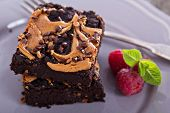 image of chocolate fudge  - Brownies with peanut butter and chocolate drops - JPG