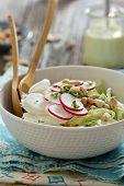 Salad with fresh cabbage, radishes