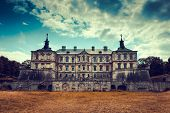 stock photo of palace  - Old stylized Pidhirtsi Castle village Podgortsy Renaissance Palace front view Lviv region Ukraine - JPG