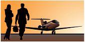 Vector business-jet at runway