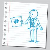 pic of hashtag  - Businessman holding hashtag sign - JPG