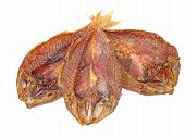 Three Dried Goatfish Taken Closeup.isolated.