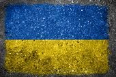 Ukrainian Flag Painted On Concrete Wall