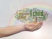 Concept or conceptual child and education abstract word cloud, human man hand, rainbow sky backgroun
