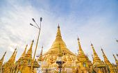 RANGOON MYANMAR - 11 October 2013 : Shwedagon Pagoda in Rangoon.