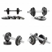 foto of lifting weight  - Fitness exercise equipment dumbbell weights on white background - JPG
