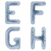 Letters E, F, G And H In Ice