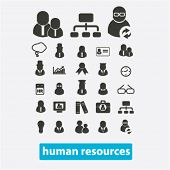 human resources, management, organization, users icons, signs set, vector
