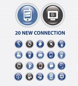 20 communication, connection, network buttons, icons, signs set, vector