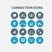 connection, communication icons, signs set, vector