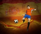 Abstract waves aroun soccer player on the national flag of Spain