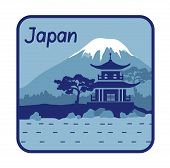 Illustration with pagoda and Mount Fuji in Japan