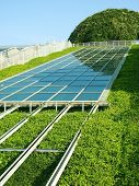 foto of environmentally friendly  - Solar Panels with Green environment - JPG