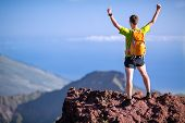 Hiking Success, Trail Runner Man In Mountains