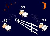 Funny Cartoon Sheep Jumping Through The Fence
