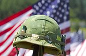 picture of veterans  - Vintage Vietnam era helmet at a celebration of Veterans of Foreign Wars in Sutherlin Oregon - JPG