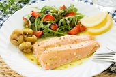 roasted wild salmon fillet (low fat)  with berries salad
