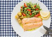 top view of roasted wild salmon fillet (low fat)  with berries salad