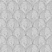 Landscape Hillside Seamless Pattern In Black And White