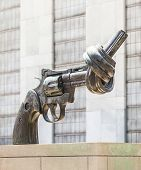Gun Tied In A Knot Outside Un
